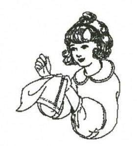Схема Девочка за вышивкой