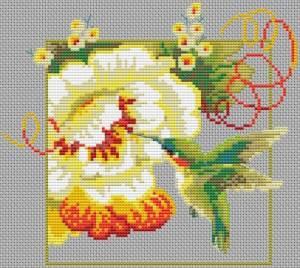 Схема Колибри и большой цветок