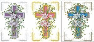 Крестик с цветами