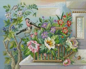 Схема Цветочная корзина и птицы