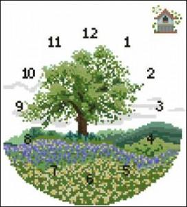Схема Часики с деревом