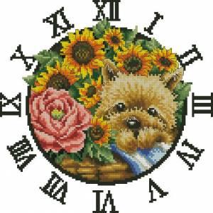 Щенок с цветами (часы)