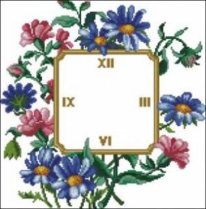 Схема Часы летний букет