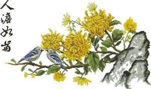 Схема  Птицы на цветущей ветке