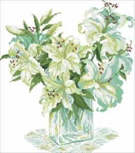 Схема Букет белых лилий