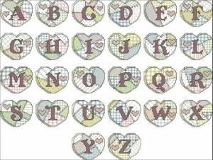 Алфавит с сердечками в стиле пэчворк