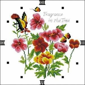 Схема Часики с цветами и бабочками