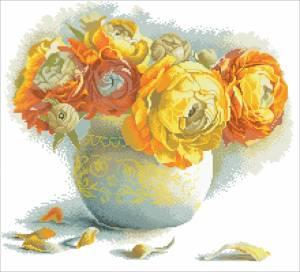 Схема Букет желтых цветов (Букет Ранункулюсов)