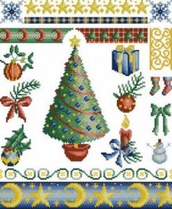 Сэмплер с Рождественскими мотивами