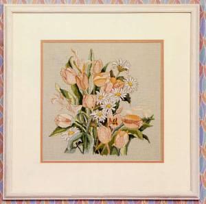 Схема Букет ромашек и тюльпанов