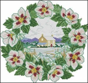 Схема Домик в венке из яблоневого цвета