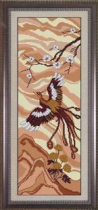 Схема Панно с птицей и сакурой