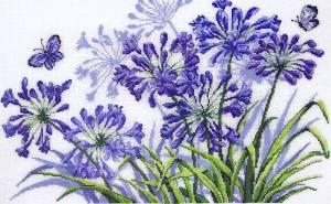 Схема Африканская лилия — Агапантус и синие бабочки