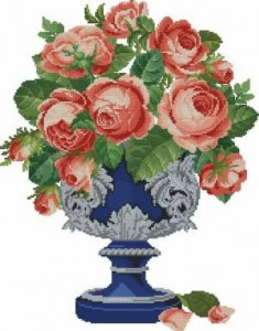Схема Розы в синей вазе