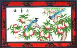 Схема Фазаны на ветке персика