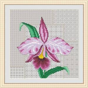 Схема Розовая орхидея с элементами Блэкворк
