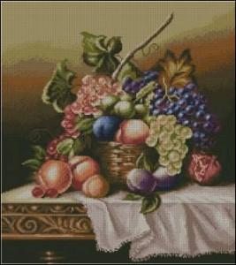 Схема Натюрморт с фруктами и виноградом