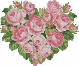 Схема Сердце из розовых роз