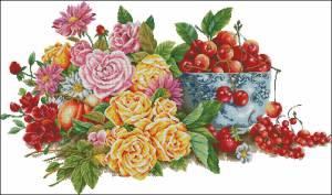 Схема Натюрморт с розами и ягодами