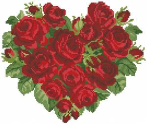 Схема Сердце из красных роз