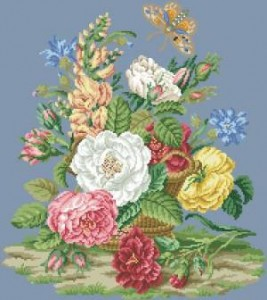 Схема Букет роз в корзине