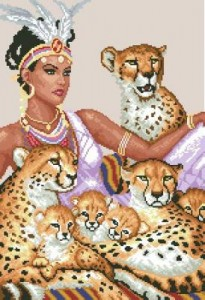 Схема  Девушка с леопардами