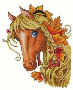 Схема Лошадь в осенних листьях