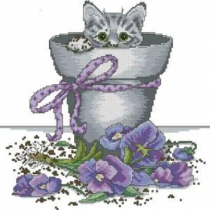 Котенок в цветочном горшке