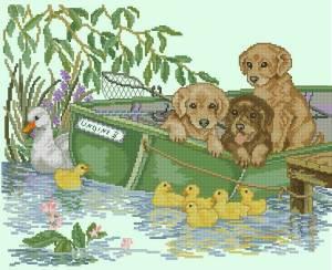 Щенки в лодке