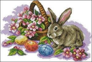 Пасхальный заяц с букетиком